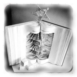 Book art, Sculpture, Christmas, Christmas book art, Gift, Present, Art, Book fold. Christmas tree.