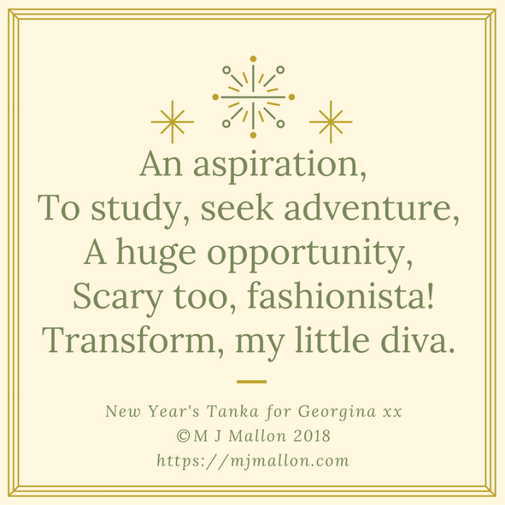 An aspiration,To study, seek adventure, A huge opportunity, Scary too, fashionista's!Transform, my little d