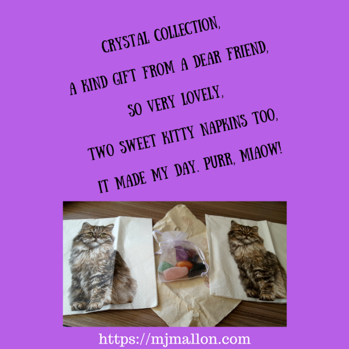 Tanka Crystal collection,A kind gift from a dear friend,So very lovely,Two sweet napkins too,It made my day. Purr, miaow (1)